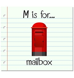 Flashcard letter m is for mailbox vector