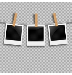 Set of photo frames on the rope with clothespin vector
