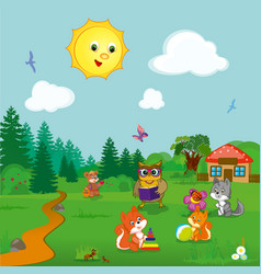 animals at kindergarten vector image