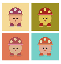 Assembly flat icons kids toy mushroom vector
