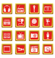 Audio and video icons set red vector
