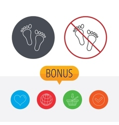Baby footprints icon Child feet sign vector image