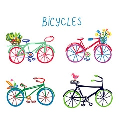 Bicycles funny romantic set with flowers and bird vector image