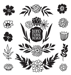 Boho black decorative plants and flowers vector