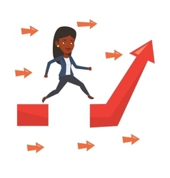 Businesswoman jumping over gap on arrow going up vector