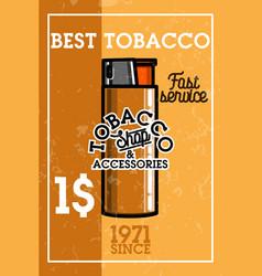Color vintage tobacco shop banner vector