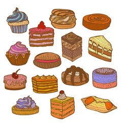 colored set of sweets in hand drawn doodle style vector image