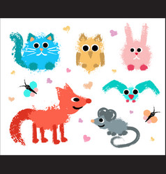 Cute animals set painted grunge texture vector