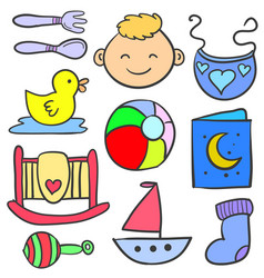 Doodle of baby element set various vector