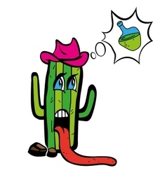 Drawing cartoon plant tequila cactus in heat wants vector image vector image