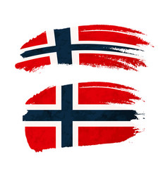 Grunge brush stroke with norway national flag on vector