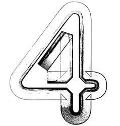 Grunge Font number 4 vector image