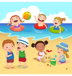 Happy kids having fun on the beach vector image