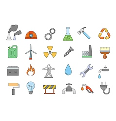 Industry work colorful icons set vector