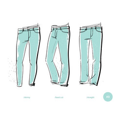 Men jeans fits vector