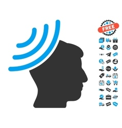 Radio Reception Mind Icon With Free Bonus vector image vector image