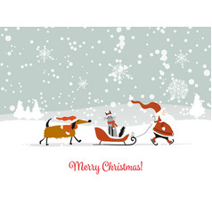 Santa claus with cat and dog christmas card vector