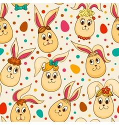 Seamless pattern with cute Easter rabbits vector image