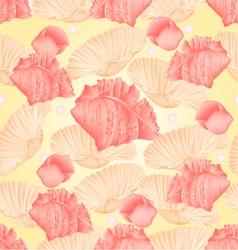 Seamless texture seashells and pearls vector