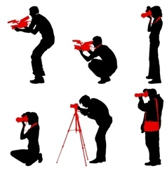 Set cameraman with video camera silhouettes on vector
