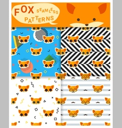 Set of animal seamless patterns with fox 2 vector