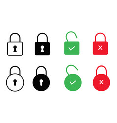 set of lock icons isolated on white background vector image vector image