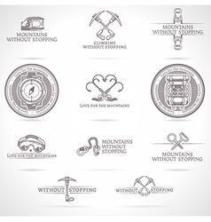 set of mountaineering and tourism emblems vector image vector image
