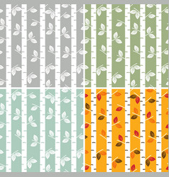 set of seamless pattern birch trees vector image vector image