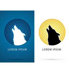 silhouette head howling wolf vector image vector image