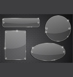 Transparent glass plate on metal background vector
