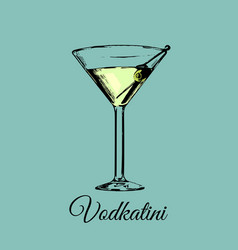 Vodkatini glass sign alcoholic beverage vector