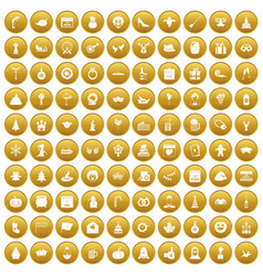 100 holidays icons set gold vector image vector image