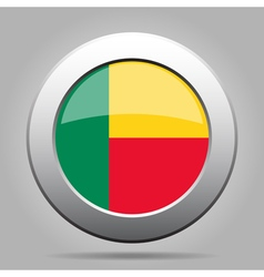Flag of benin shiny metal gray round button vector