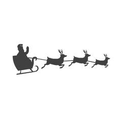 Santa s Sleigh With Reindeer Silhouette vector image