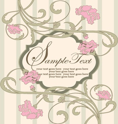 Invitation vintage card with pink flowers vector