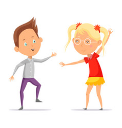 Children dancing or cartoon boy with girl moving vector