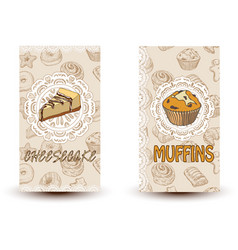 Cheesecake and muffins hand drawn vector