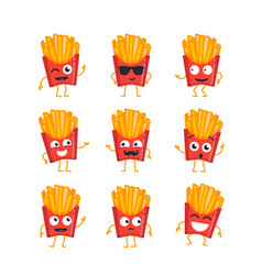 French fries - set of mascot vector