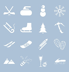 Many icons winter holiday vector