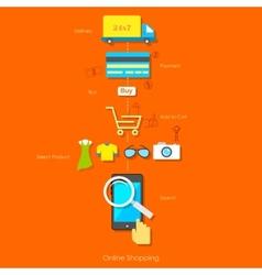 Online shopping pictogram vector