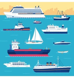Set of flat yacht scooter boat cargo ship vector