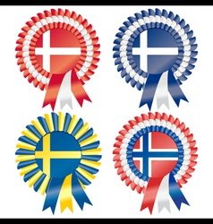 Rosettes to represent northern european countries vector