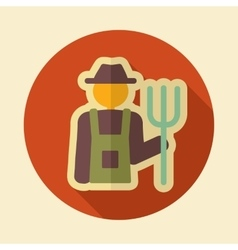 Farmers retro flat icon with long shadow vector