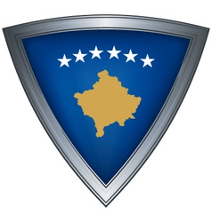 Steel shield with flag kosovo vector