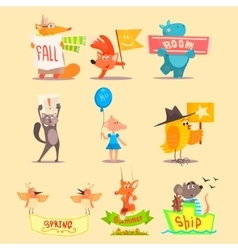 Flat season animal icons vector