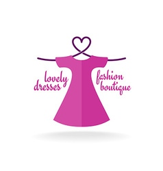 Fashion boutique dress with heart shaped shoulder vector