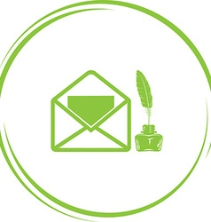 Open mail with inkstandn vector