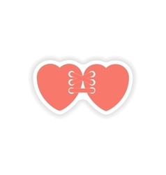 Paper sticker on white background related heart vector