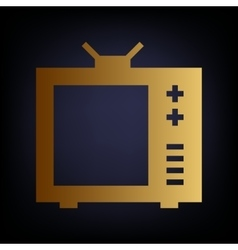 Tv sign golden style icon vector