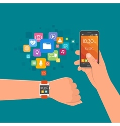 Hand with smart watch and smartphone vector